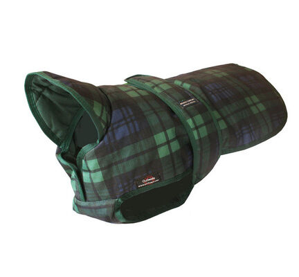 Outhwaites Waterproof Padded Underbelly Dog Coat Blue & Green Tartan