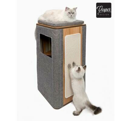 Vesper Cubo Tower Cat Furniture / Scratcher - Stone