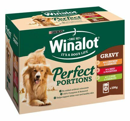 48 x  100g Winalot Pouch Adult Dog Selection In Gravy Chicken, Beef and Lamb