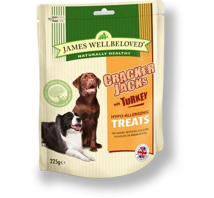 James Wellbeloved Crackerjacks Turkey Dog Treats - 225g