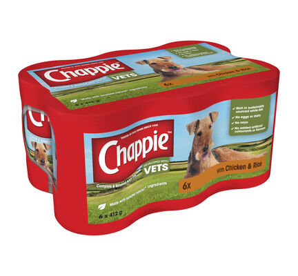 24 x 412g Chappie Dog Food Tins with Chicken & Rice
