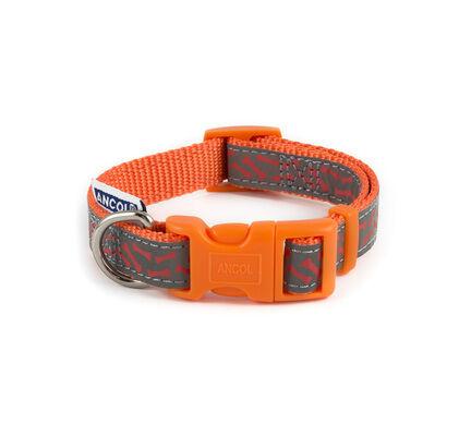 Ancol Fashion Nylon Adjustable Dog Collar Orange Bone