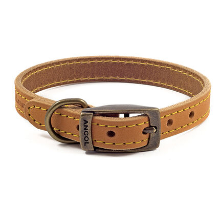 Ancol Timberwolf Leather Dog Collar in Mustard