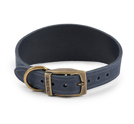Ancol Timberwolf Greyhound Leather Dog Collar in Blue 34-43cm