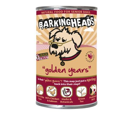 8 x 400g Barking Heads Golden Years Chicken & Salmon Senior Wet Dog Food Pouches