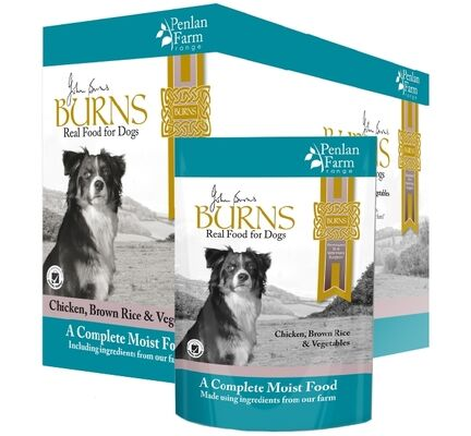 6 x 400g Burns Penlan Farm Complete Chicken Rice & Veg Wet Dog Food Pouch