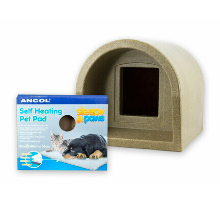Mr Snugs Katden Cat Kennel & Self Heating Pet Pad - Stone