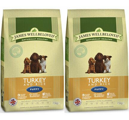 2 x 7.5kg James Wellbeloved Multibuy Turkey & Rice Puppy Food