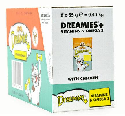 8 x 55g Dreamies Cat Treats With Chicken Plus Vitamins & Omega3 - Bulk Pack