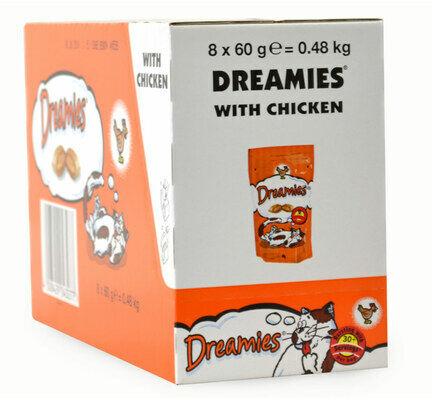 8 x 60g Dreamies Cat Treats With Chicken - Bulk Packs