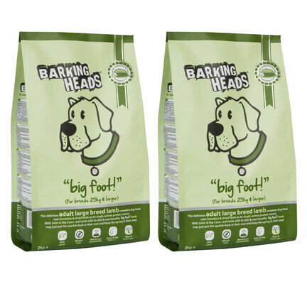 2 x 12kg Barking Heads Big Foot Bad Hair Day Adult Large Breed Lamb Dog Food Multibuy