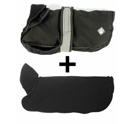 Danish Design 2 In 1 Black Four Seasons Waterproof Performance Dog Coat