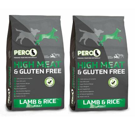 2 x 12kg Pero High Meat Lamb & Rice Adult Dog Food