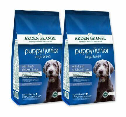 2 x 12kg Arden Grange Puppy/Junior Large Breed Chicken & Rice Dog Food Multibuy