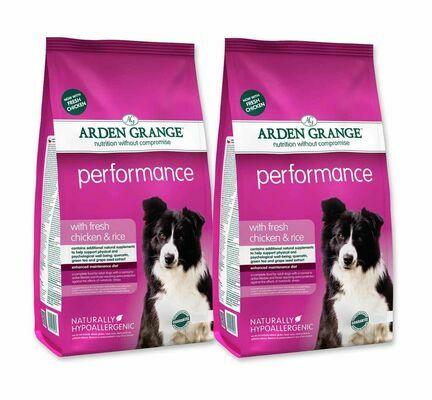 2 x 12kg Arden Grange Performance Chicken & Rice Adult Dry Dog Food