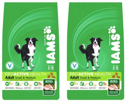 Iams ProActive Health Small & Medium Breed Chicken Adult Dog Food - 2 x 12kg