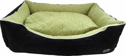 Hem & Boo Quilted Waterproof Rectangle Dog Bed - Black & Apple