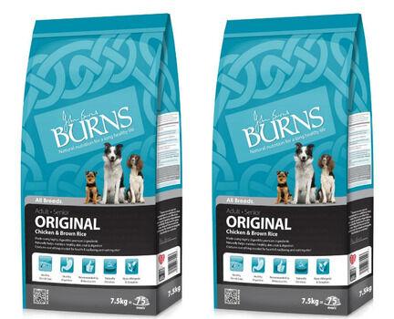 2 x 15kg Burns Original Adult/Senior Chicken & Brown Rice Dog Food Multibuy