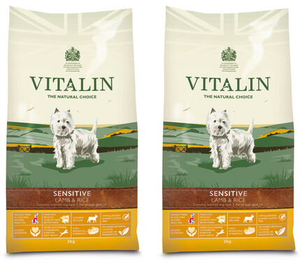 2 x 12kg Vitalin Sensitive Lamb & Rice Adult Dry Dog Food Multibuy