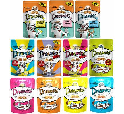 8 x Dreamies Kitten & Adult Cat Treats Mixed Flavour Food Bulk Pack