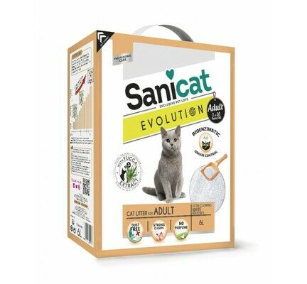 Sanicat Evolution Adult Clumping Dust-Free Cat Litter - 6L