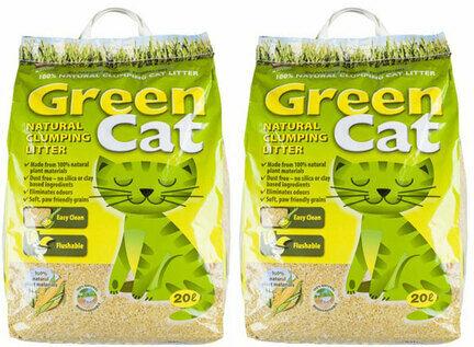 2 x 20L Green Cat Natural Clumping Cat Litter Multibuy