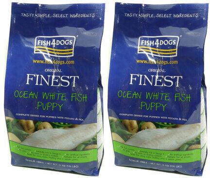 2 x 12kg Fish4Dogs Finest Regular Bite Ocean White Fish Complete Puppy Food Multibuy