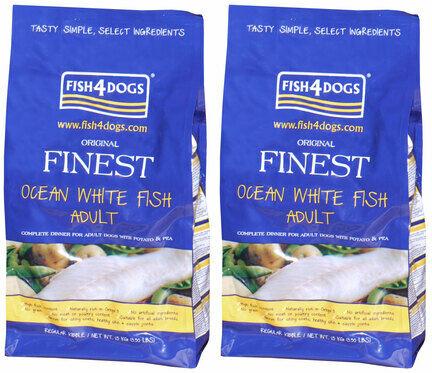 2 x 12kg Fish4dogs Finest Ocean White Fish Regular Bite Adult Dog Food Multibuy