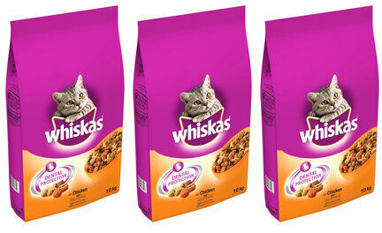 3 x 10kg Whiskas Dental Protection Complete Chicken Dry Cat Food Multibuy