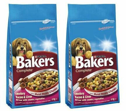 2 x 14kg Bakers Complete Bacon & Liver Adult Dog Food Multibuy