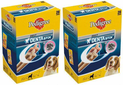 2 x 28 Pedigree Dentastix Daily Medium Breed Dog Treats Multibuy - 56 Sticks
