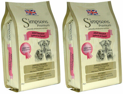 2 x 12kg Simpsons Premium Adult Sensitive Salmon & Potato Dry Dog Food Multibuy