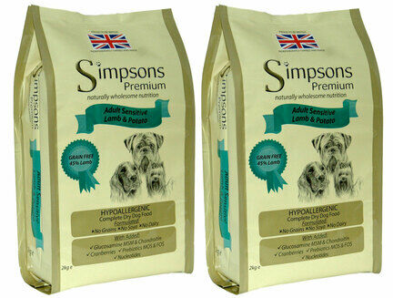 2 x 12kg Simpsons Premium Adult Sensitive Lamb & Potato Dry Dog Food Multibuy