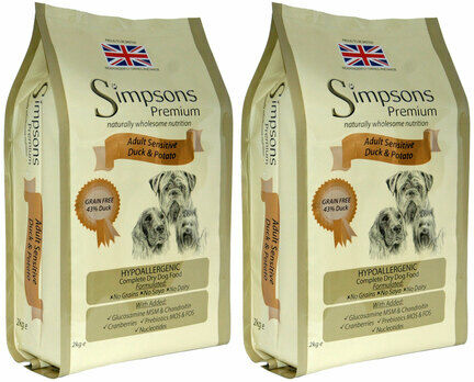 2 x 12kg Simpsons Premium Adult Sensitive Duck & Potato Dry Dog Food Multibuy