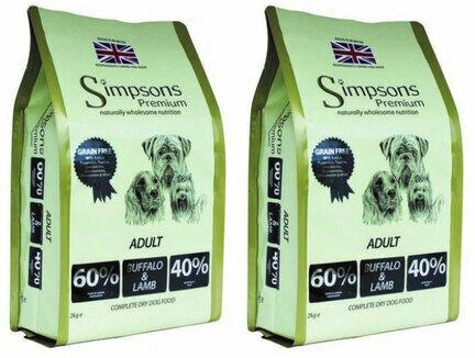 2 x 10kg Simpsons Premium Adult 60/40 Buffalo & Lamb Dry Dog Food