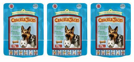 3 x 225g James Wellbeloved Crackerjacks Fish, Rice & Tomato Dog Treats Multibuy