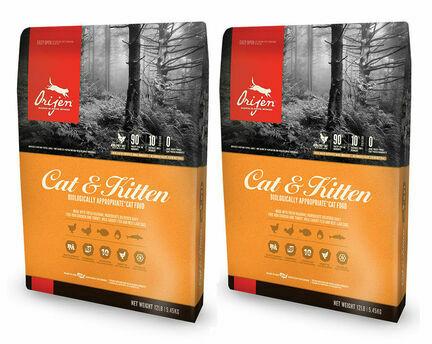 2 x 5.4kg Orijen Cat & Kitten Chicken, Turkey & Fish Cat Food Multibuy