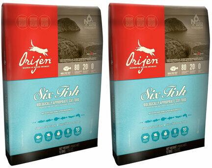 2 x 5.4kg Orijen 6 Fish Dry Cat & Kitten Food Multibuy