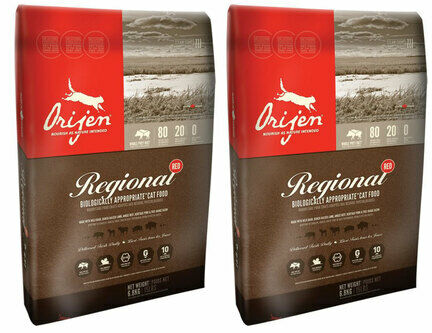 2 x 5.4kg Orijen Regional Red Dry Cat & Kitten Food Multibuy