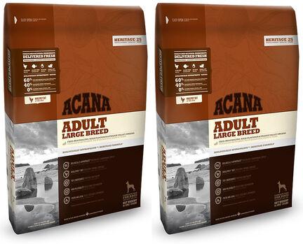 2 x 11.4kg Acana Heritage Adult Large Breed Dry Dog Food Multibuy