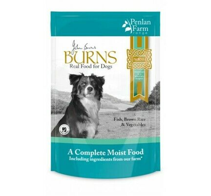 12 x 400g Burns Penlan Farm Complete Fish Brown Rice & Veg Wet Dog Food Pouch