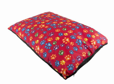 The Pet Express Red Multi Coloured Paws Luxury Dog Duvet
