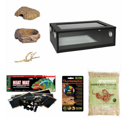 The Pet Express Corn Snake Starter Kit - Medium Vivarium Black (24