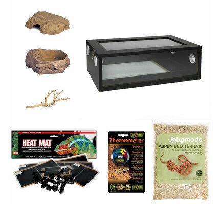 The Pet Express Corn Snake Started Kit - Medium Vivarium Black (24