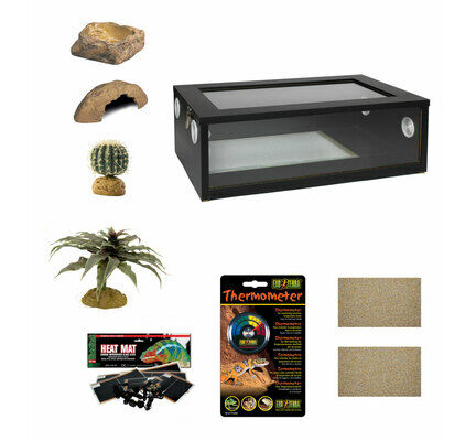Medium Leopard Gecko Starter Kit - Monkfield Vivarium Black (24 Inch)