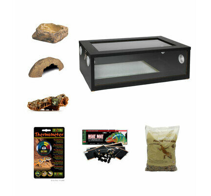 Medium Royal Python/Ball Python Starter Kit Monkfield Vivarium Black (24 Inch)