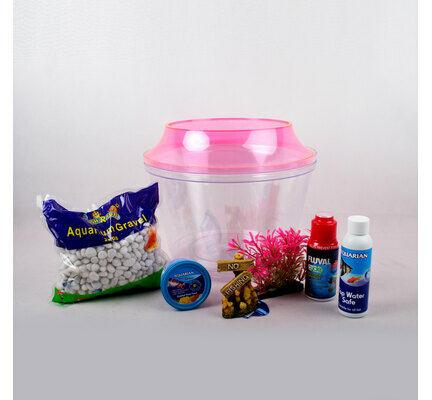 The Pet Express Cold Water Fish Bowl Goldfish Starter Kit - Pink