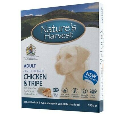 20 x Natures Harvest Adult Chicken & Tripe 395g