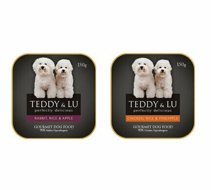 12 x 150g Rabbit Rice & Apple & 12 x 150g Chicken & Pineapple - Teddy & Lu Wet Dog Food