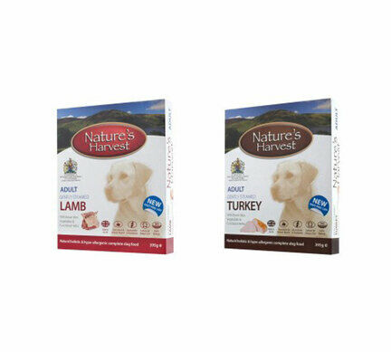 10 x 395g Adult Turkey & 10 x 395g  Adult Lamb - Nature's Harvest Wet Dog Food